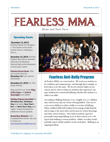 Fearless fall newsletter 2013